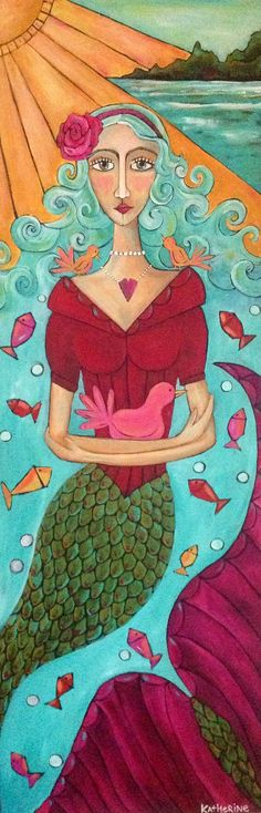 folk art mermaid painting on wood daughtersofrose@gmail.com