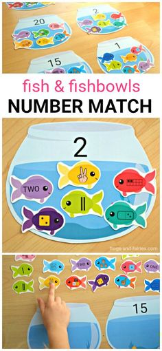 This adorable Fish and Fishbowls number match printable is a great way to help kids practice number sense!