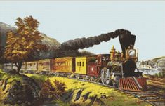 The American Express Steam Train Counted Cross Stitch Pattern / Chart,  Instant Digital Download   (AP251) Currier And Ives, Counted Cross Stitch Patterns, Different Patterns, Cross Stitching, Embroidery Patterns, Trains, Chart, Needlecrafts, Locomotive