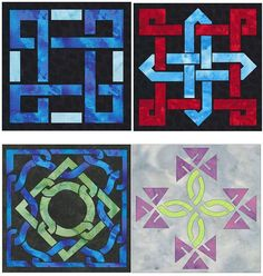 Easy Celtic Knot 4 Block Quilt Applique by QuiltingSupport on Etsy, $17.95