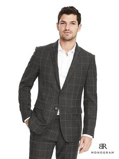 Banana Republic Slim Monogram Charcoal Windowpane Suit Jacket