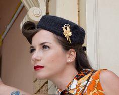 Brigitte - 100% Alpaca Wool Pill Box Hat in Charcoal by WhitePurls on Etsy