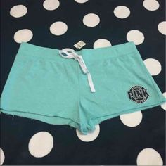 Vs PINK raw edge shorts NWT New with tags!  Victoria secret PINK raw edge shorts!  Color-seafoam  Size-L  NOTE** I sell on other sites so if an item is removed it's no longer available** PINK Victoria's Secret Shorts