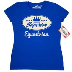 Inktastic Equestrian Vintage Superior Women's T-Shirt Gift Retro Crown Hobby Horses Riding Hobbies Clothing Apparel Tees Adult Hws, Size: Large, Blue