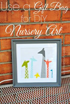Nursery Wall Art from a Gift Bag {Free DIY Nursery Art Project} from Serenity Now