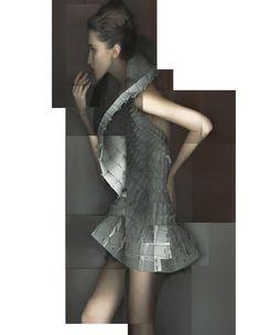 Matija Cop laser-cut ethylene vinyl acetate foam interlocked dress [Image: Katerina Jebb; styling by Damian Foxe; HTSI]