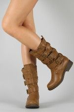 Qupid Raggae-01 Buckle Round Toe Mid Calf Boot i love these!!:)
