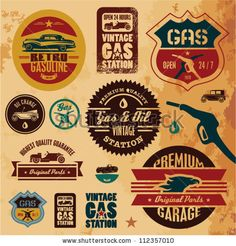 stock vector : Vintage gasoline retro signs and labels. stock vector : Vintage gasoline retro signs and labels. Vintage Room, Vintage Cars, Vintage Auto, Vintage Labels, Vintage Signs, Carros Vintage, Pompe A Essence, Old Gas Stations, Garage Signs