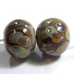 Mudslide Brown Handmade Lampwork Glass Bead Raku Dots Jewelry Supplies | Covergirlbeads - Jewelry on ArtFire