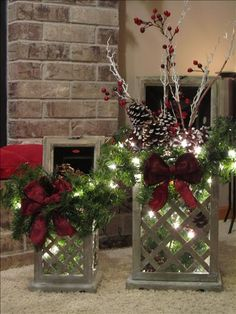 The whitewashed gray of our Bradford lanterns blends beautifully with the lush green pines, twinkle of Christmas lights, frosty pine cones, and the bright pop of red introduced by a velvet or satin bow and holly berries.  Find it at candacemc.willowhouse.com