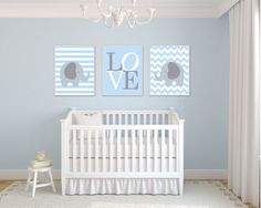 Elephant Nursery Art Print, Blue and Gray Love, Blue Nursery Art, 4 Sizes Available - Colors Customizable N451,452,453 - Unframed