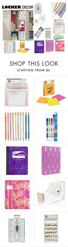 """""""Back to school locker"""" by naddy-blanc on Polyvore featuring interior, interiors, interior design, home, home decor, interior decorating, Paper Mate, Mead, Lilly Pulitzer and Kate Spade"""