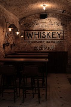 Back wall (bar) to be exposed brick printed like this with restaurant logo. Bar Interior, Interior Ideas, Interior Design, Billard Bar, Bar Vintage, Vintage Tile, Speakeasy Bar, Whisky Bar, Gold Bar Cart