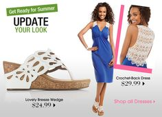 This is a really super-hot summer look. The dress matches the sandals in the back, for a lovely, lacey look.