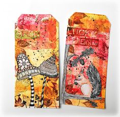 * Rubber Dance Blog *: Autumnal Mixed Media Tags with Gelli Print and Tim Holtz dies from Sizzix