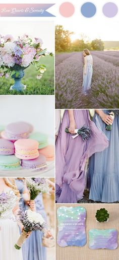 pantone color of the year 2016 - rose quartz, serenity and lilac wedding color combo ideas