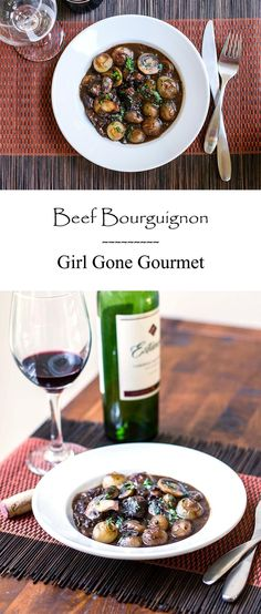 This beef bourguignon has melt-in-your-mouth beef coated in a velvety rich red wine sauce. It's in a class all it's own!   girlgonegourmet.com