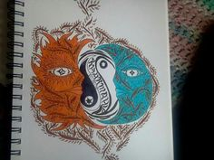 Tattoo design i drew for my big sis! Ying yang, carma<3 sun and the moon.