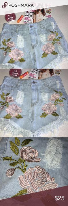 Jean shorts Size Large, distressed faded shorts with embroidered flower designs, excellent used condition Shopaholik Shorts Jean Shorts