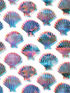 Shelly Art Print by SchatziBrown #geometric #seashells #colours