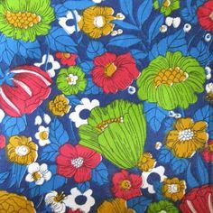 Vintage Cotton Fabric  Mod Floral Print  Blue  by SelvedgeShop, $14.00