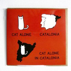 Cat alone in Catalonia - very silly illustrated everyday cat card. (1.75 GBP) by ReigningCatsAndDogs1