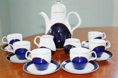 15 piece Heinrich Demitasse Set, Heinrich Germany Cobalt Blue Gold and White Demitasse Tea Set, Mid Century Coffee Set, Wedding Gift - SOLD :)