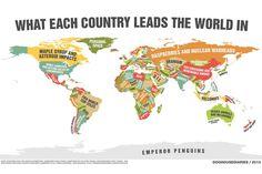 Mapa-múndi mostra em qual quesito cada país é líder mundial, confira aqui http://www.bluebus.com.br/mapa-mundi-mostra-quesito-pais-lider-mundial-confira/