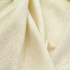 Naturally Coloured Cotton Ajour Jersey Ecru, GOTS