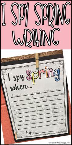 Spring ideas for first grade. i spy spring writing freebie Writing Prompts 2nd Grade, Writing Prompts Poetry, First Grade Writing, Kindergarten Writing, Literacy, Narrative Writing, Writing Skills, 2nd Grade Activities, Spring Activities