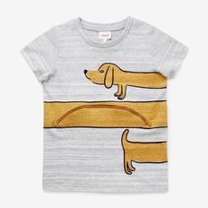 This tee features a fun design and a sausage dog friend. With a front and back print, open the novelty front pocket to find out what this dog has been up to! Made from cotton, this style is available in Grey Space Dye and in sizes 2 to Kids Graphics, Painted Clothes, Stylish Boys, Kids Fashion Boy, Tee Shirts, Tees, Kids Prints, Kids Wear, Toddler Boys