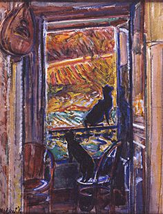 """Nicholas Tarkhoff (1871 - 1930) - """"Deux chats a la fenêtre"""""""