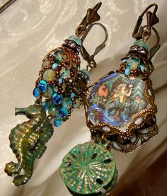 Russian mermaid art woven netted picasso bead by pameliadesigns, $52.00