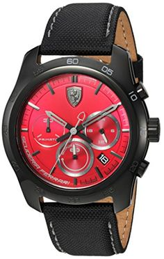 Shop the latest collection of Ferrari Men's PRIMATO Stainless Steel Quartz Watch Nylon Strap, Black, 22 (Model: from the popular stores - all in one Casual Watches, Watches For Men, Red Watches, Seiko Sumo, Ferrari Watch, Second Hand Watches, Waterproof Watch, Stainless Steel Case, Quartz Watch