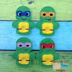 Turtle Finger Puppet Set Embroidery Design by GracefullyGeeky, $12.00
