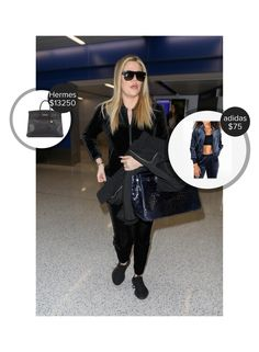 Khloe Kardashian Lax Airport - seen in adidas, Celine and carrying Hermes. #hermes #adidas #celine  #khloekardashian @mode.ai