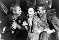 """McQueen. Dunaway. Newman. (On the set of """"Towering Inferno,"""" c. 1974.)"""