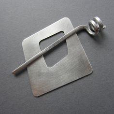 Wonky Square Shawl Pin or Scarf Pin silvertone metal 2 inch asymmetric modern artisan handmade