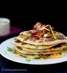 Savory Bacon, Cheddar, and Green Onion Pancakes | Life Tastes Like Food