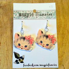 Vintage Kitty Cat  - Shrinky Dink earrings on Etsy, $15.00