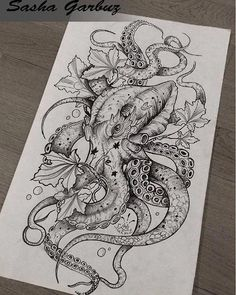 Female Octopus Tattoo Seabed Drawing Octopus Seabed Source by Octopus Tattoo Design, Octopus Tattoos, Octopus Art, Octopus Sketch, Octopus Mermaid, Octopus Drawing, Jellyfish Tattoo, Kunst Tattoos, Body Art Tattoos