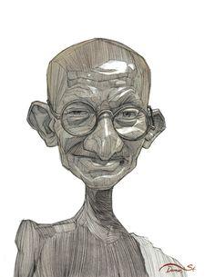 Gandhi illustration Portrait by Stavros Damos, via Behance