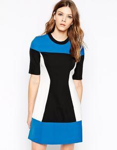 Y.A.S High Neck Short Sleeve Colourblock Dress