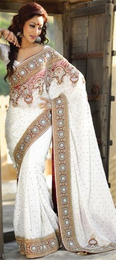 107001, Party Wear Sarees, Embroidered Sarees, Bridal Wedding Sarees, Jacquard, Zari, Stone, White and Off White Color Family