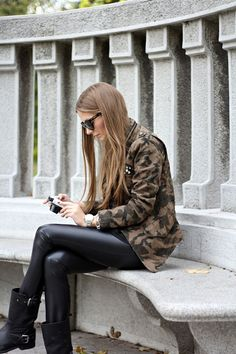 army jacket + leather leggings + boots