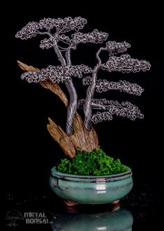 Shari Deadwood Bonsai Tree Sculpture in Green Pot with moss effect base. Metal Bonsai Tree Art Sculpture. Wire bonsai tree sculpture. @metalbonsai. metalbonsai.com #bonsai metalbonsai