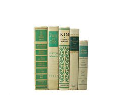 BEIGE GREEN 1950s Decorative Books, Wedding Decor, Table Settings, Centerpiece, Vintage Gift, Antique Old, Home Book Decor, Christmas Decor