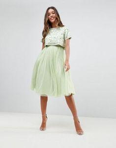 ASOS DESIGN embellished crop top tulle midi dress