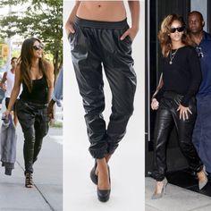New 2014 Fashion Black Loose Harem Faux Leather Sweatpants Joggers Plus Size Pants High Street Fashion Women's Pants Six Size