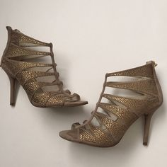"""Michael Kors rhinestone heels Michael Kors Mavis rhinestone cage heels. 3.5"""" height. Taupe suede with gold rhinestones. Zippered backs. Worn with the gel insoles so that's the indention in the toe area. Michael Kors Shoes Heels"""